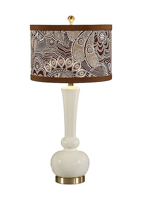 Wildwood Lamps Astrid Table Lamp In White W Brown Shade