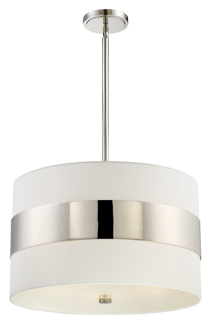 Libby Langdon For Crystorama Grayson 23 Drum Pendant In Polished Nickel