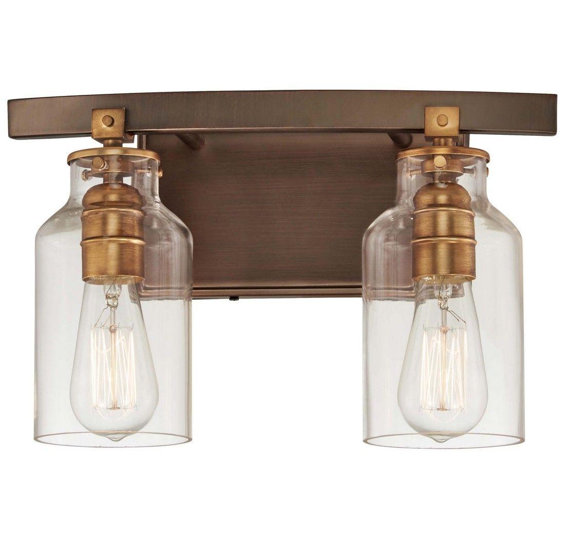 Minka lavery morrow 2 light 14 bathroom vanity light in harvard court bronze with gold hi