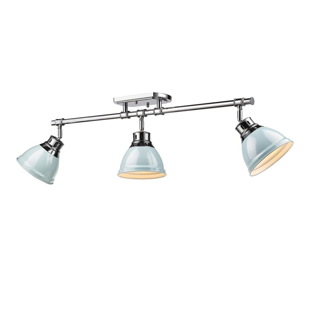 Golden Lighting Duncan 3 Light Semi Flush Track In Chrome W Seafoam Shades