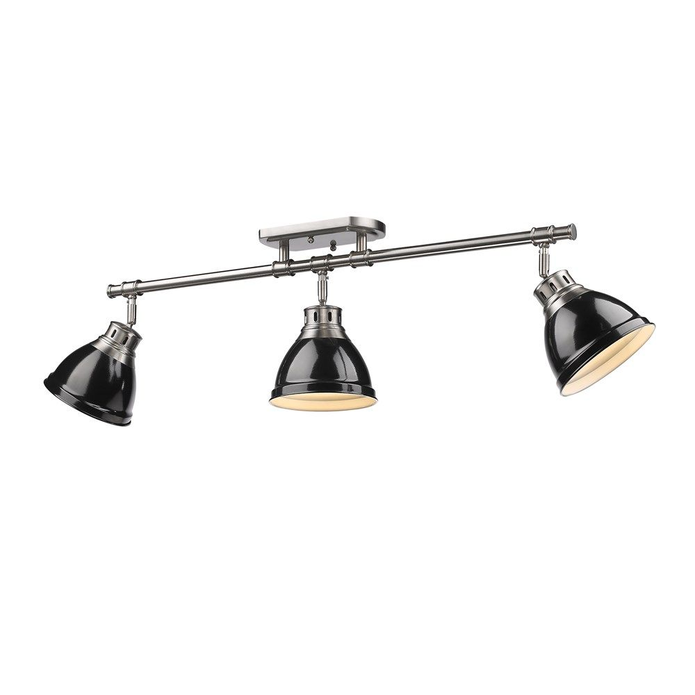 Golden Lighting Duncan 3 Light Semi Flush Track In Pewter W Black Shades