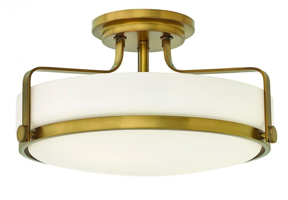 Hinkley Harper 3 Light Semi Flush Ceiling Light In Heritage Brass