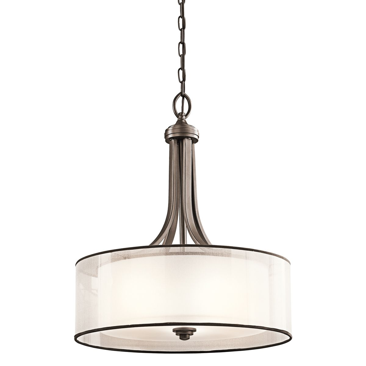 Kichler lacey 4 light inverted pendant in mission bronze