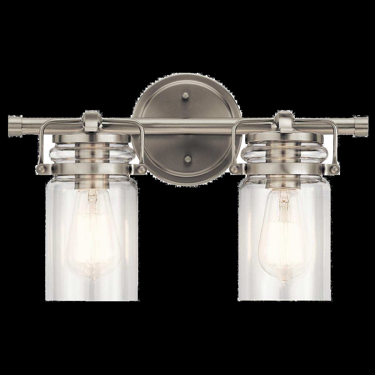 Kichler brinley 2 light bathroom vanity light in brushed nickel