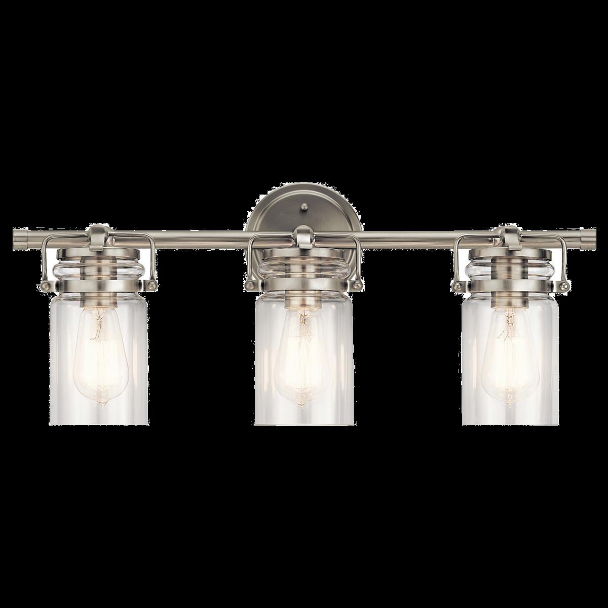 Kichler brinley 3 light bathroom vanity light in brushed nickel