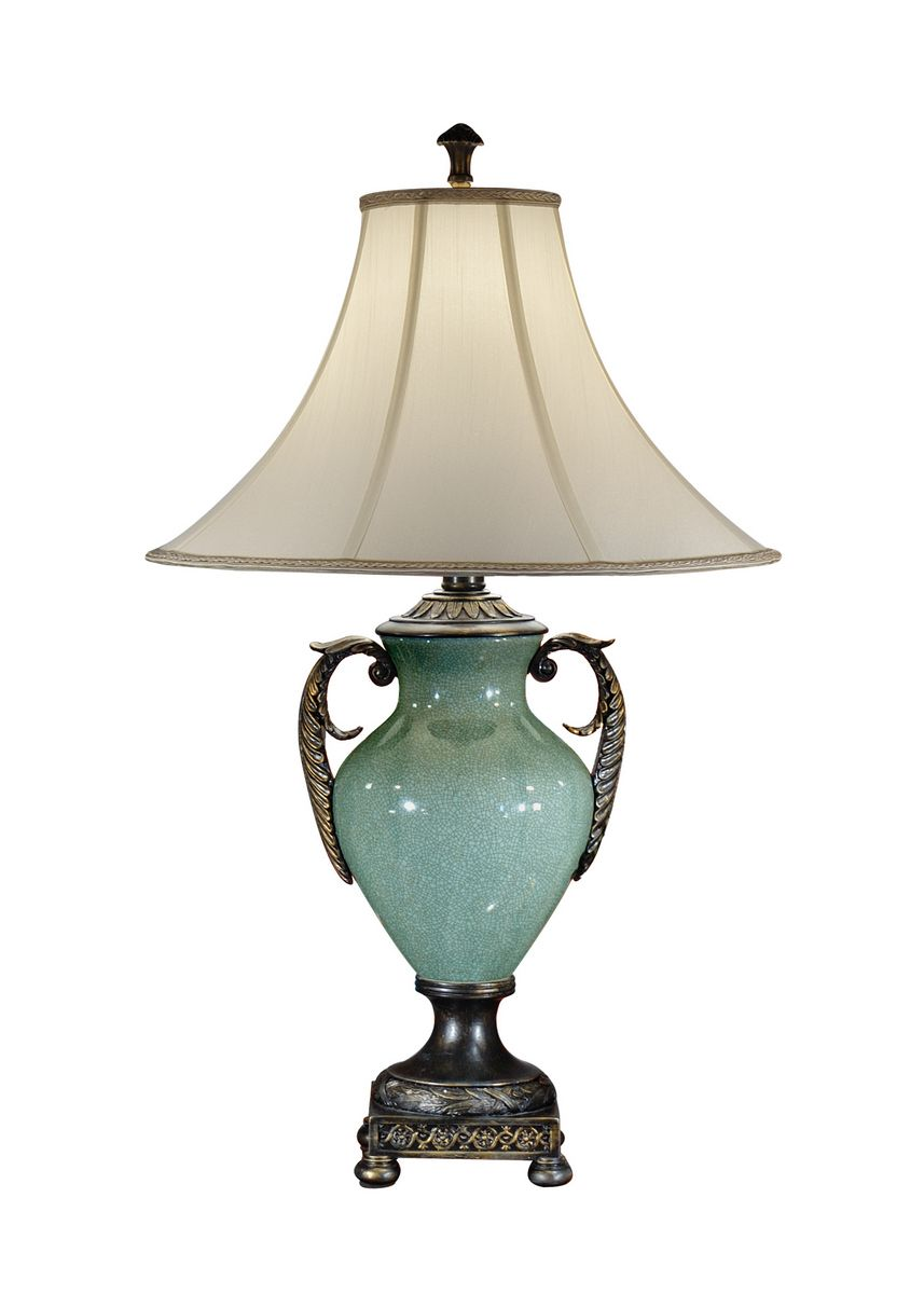 Wildwood Lamps Handled Urn Table Lamp In Blue Glaze