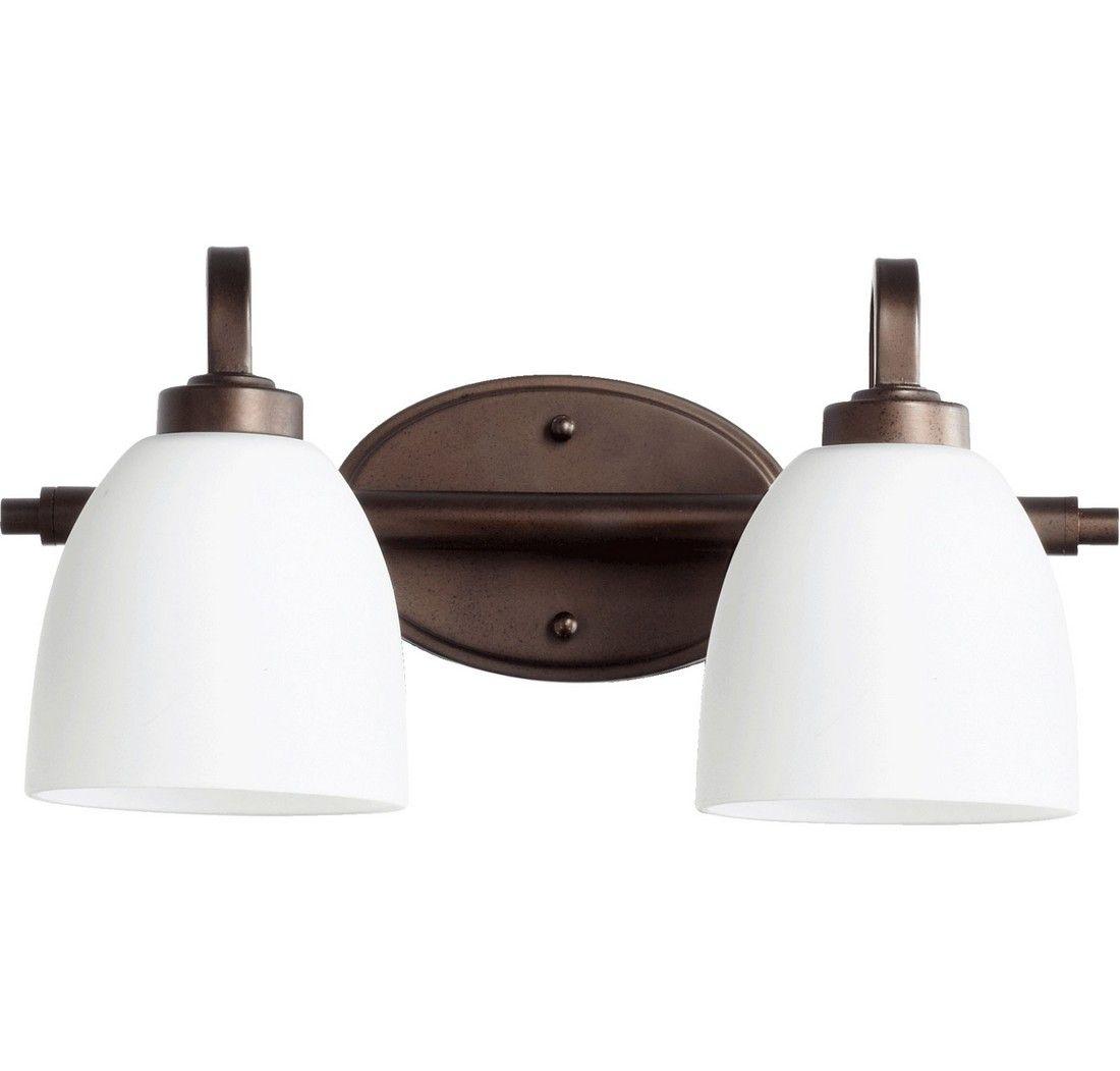 Quorum reyes 2 light 8 bathroom vanity light in oiled bronze
