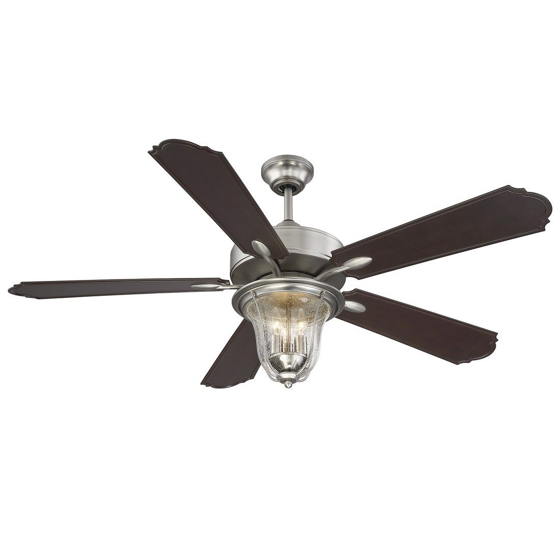 Savoy House Trudy 52 Quot 5 Blade Ceiling Fan In Satin Nickel Rustic Ceiling Fans Rustic Home