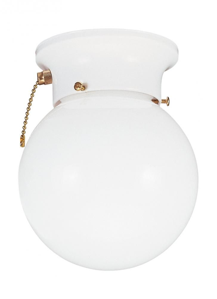 Sea Gull Lighting Tomkin One Light Ceiling Flush Mount With On Off Pull Chain In White