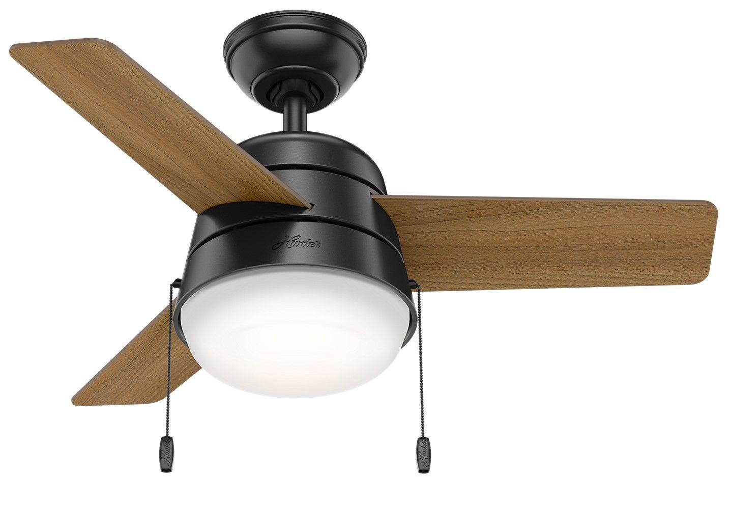 Hunter Aker 2 Light 36 Quot Indoor Ceiling Fan In Matte Black