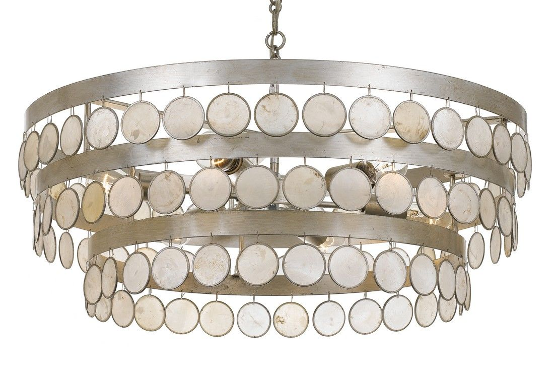 Crystorama coco 6 light 12 coastal chandelier in antique silver with capiz shell crystals