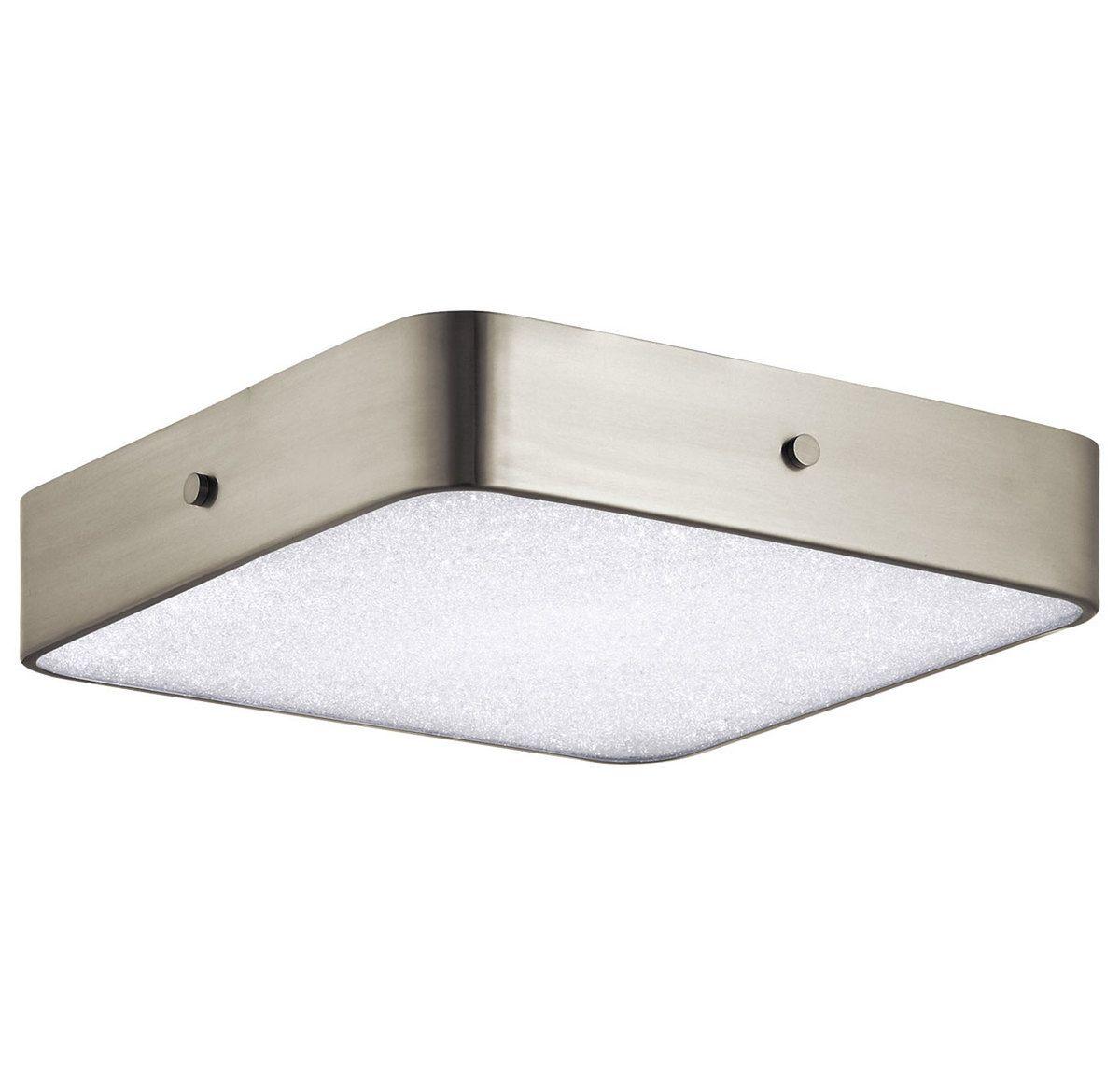 Elan crystal moon 15 75 led square ceiling light in brushed nickel