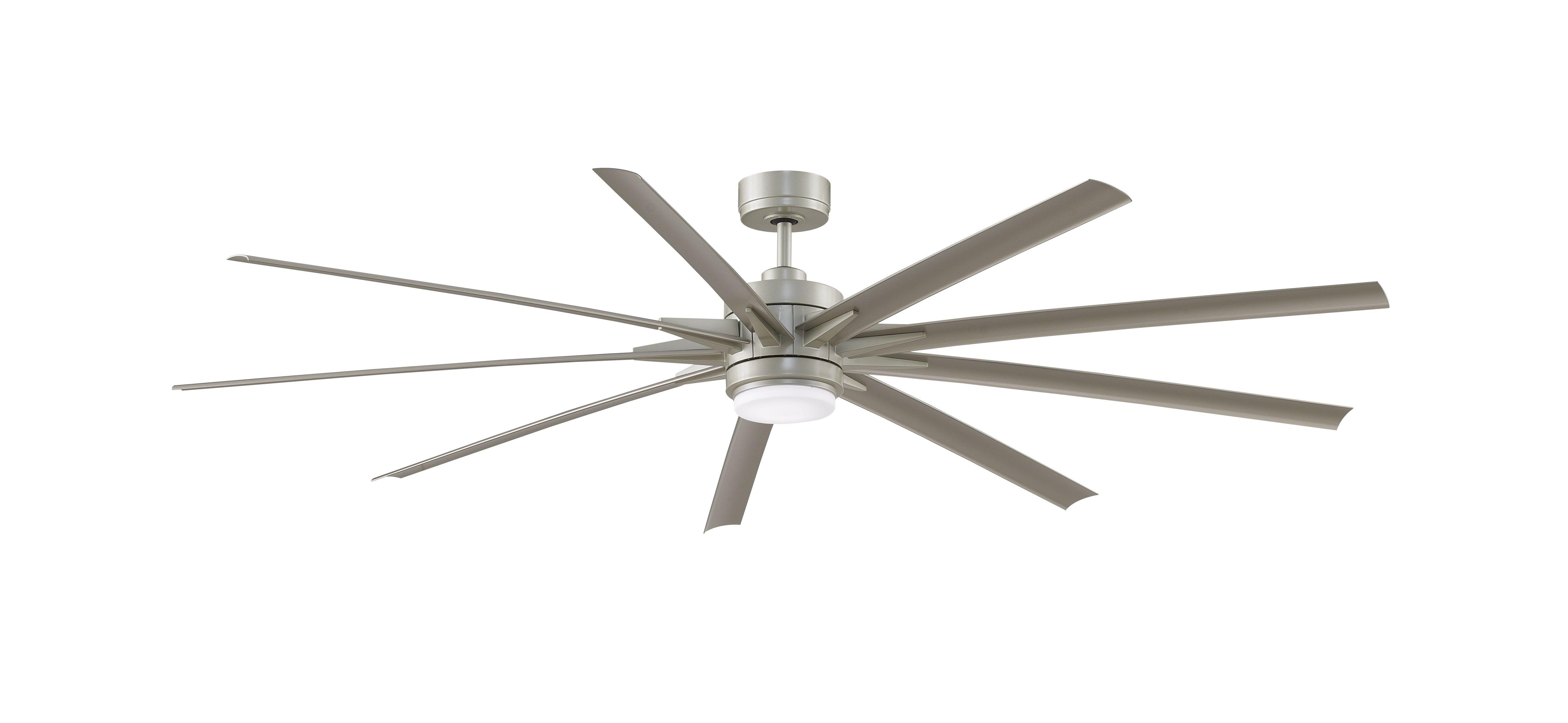 Fanimation Odyn 84 Indoor Outdoor 9 Blade Ceiling Fan With Light In Brushed Nickel