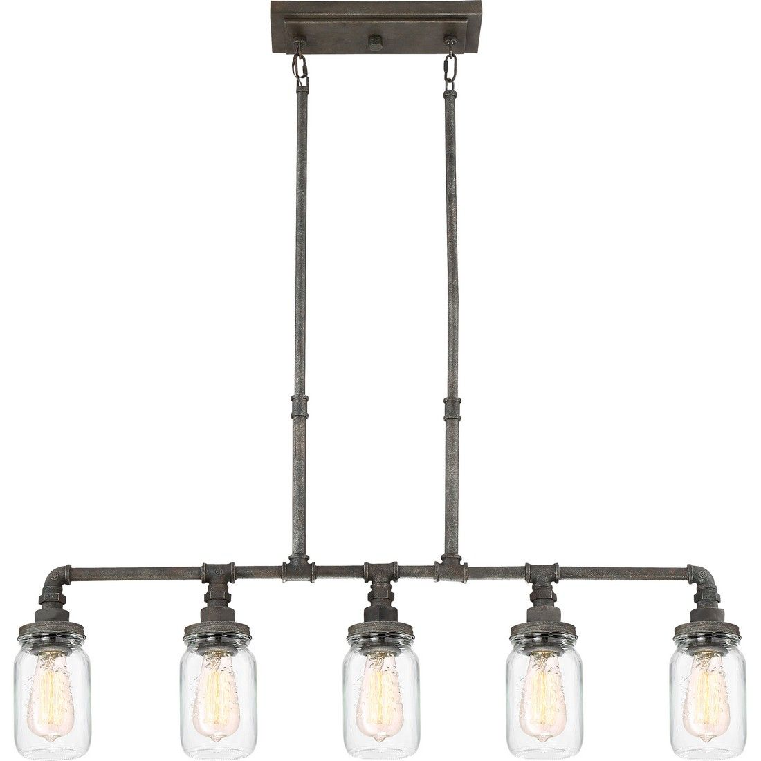 Cool Quoizel Squire 5 Light 38 Kitchen Island Light In Rustic Black Home Remodeling Inspirations Cosmcuboardxyz