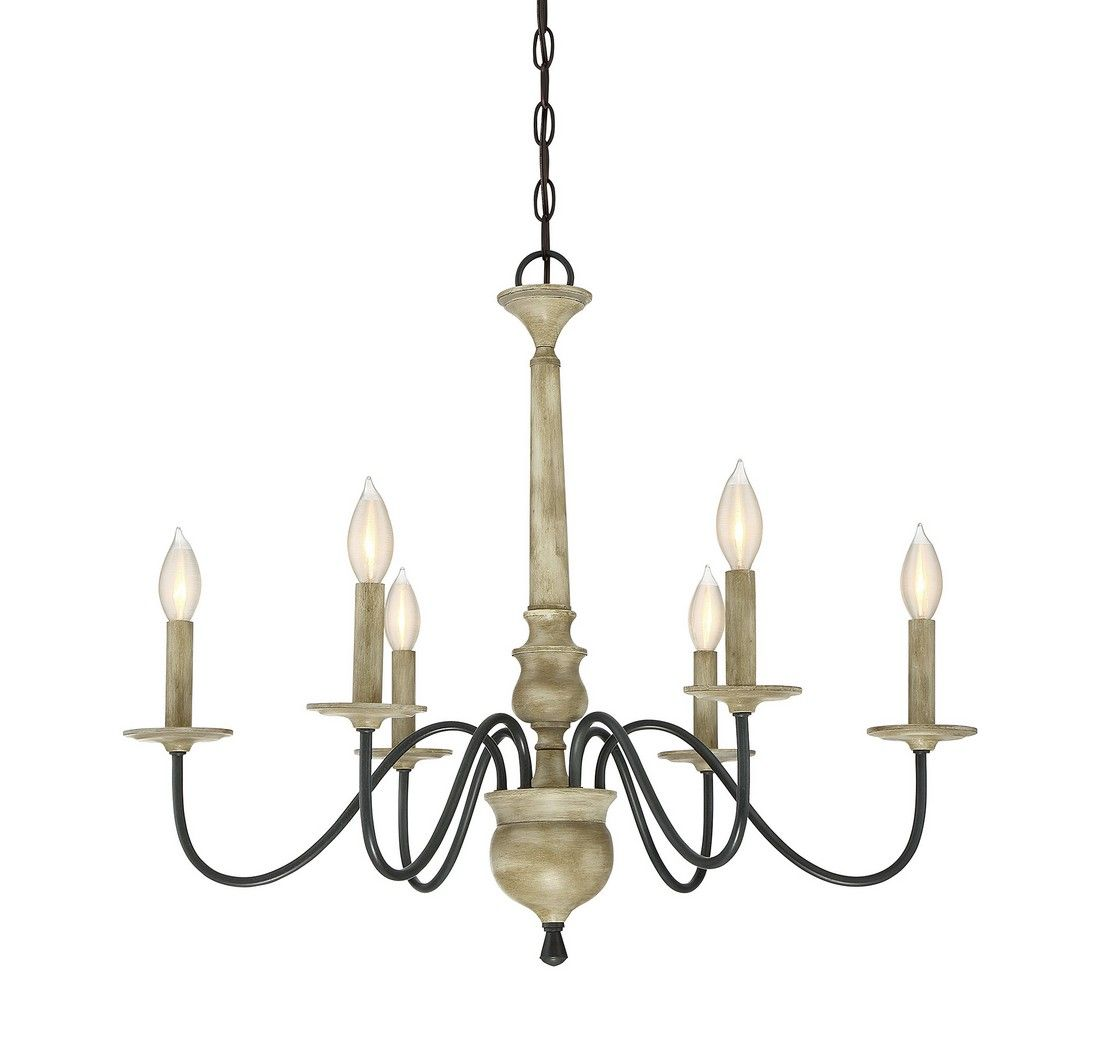 Trade winds rustic 6 light chandelier in distressed wood
