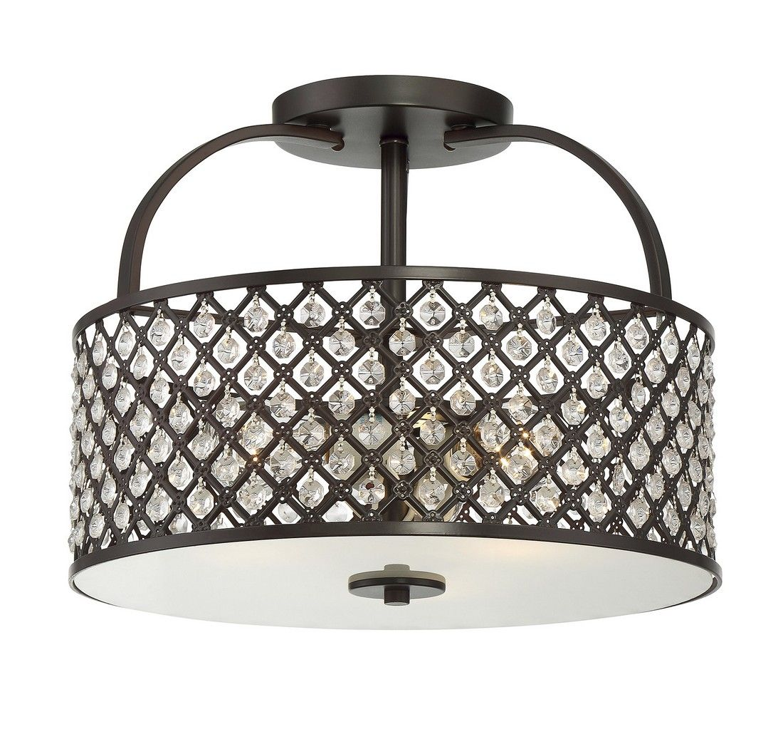 Trade Winds Crystal Lattice 3-Light Ceiling Light in Oil Rubbed Bronze