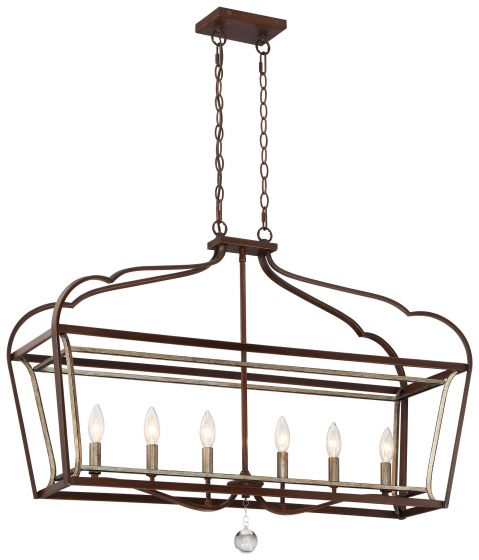 """Minka Lavery Astrapia 6-Light 11"""" Pendant Light in Dark Rubbed Sienna with Aged Silver"""
