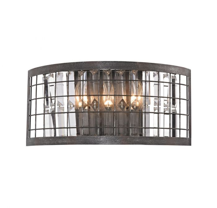 Elk Lighting Nadina 3 Light Wall Sconce In Silverdust Iron Sconces Lights