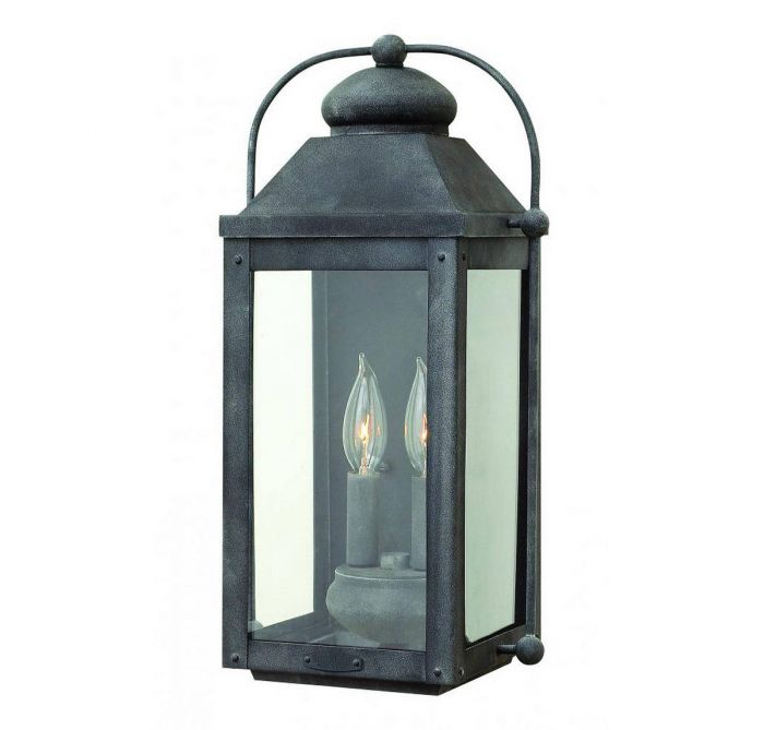 Hinkley Anchorage 2 Light Outdoor Wall Lantern In Aged Zinc Lights
