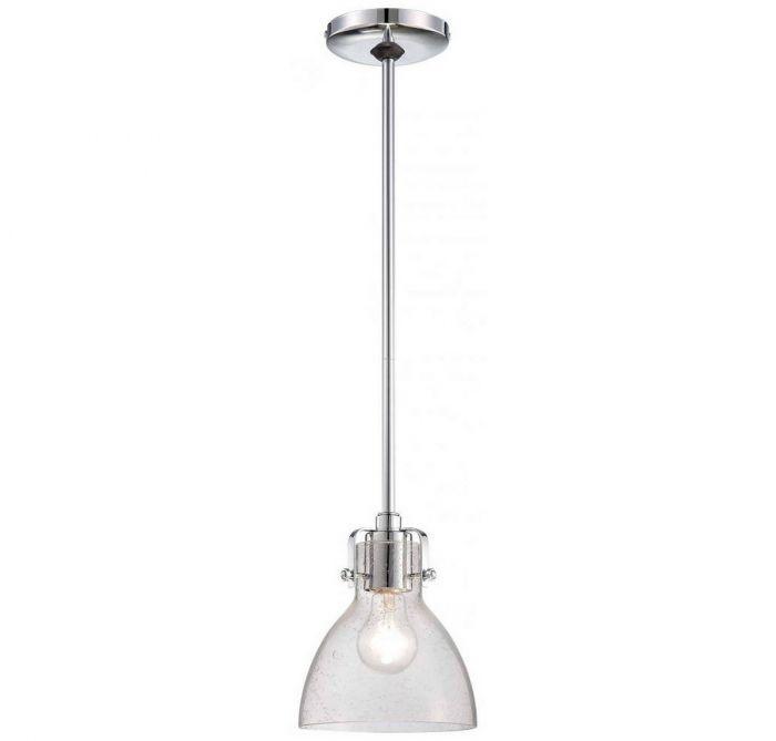 Minka Lavery Seeded Gl 1 Light Mini Pendant In Chrome Pendants Lights Ceiling