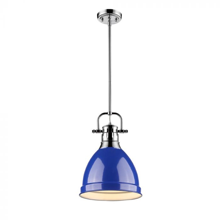 Golden Lighting Duncan Small Pendant With Rod In Chrome Blue Shade Lights Ceiling