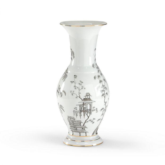 Chelsea House Black White Chinoiserie Urn Vases Urns Home Decor