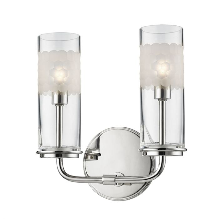 Hudson Valley Wentworth Light Wall Sconce In Polished Nickel - 2 light bathroom sconce