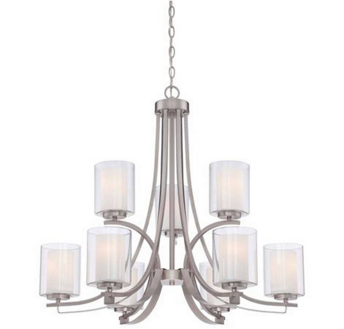 Minka Lavery Parsons Studio 9 Light Chandelier In Brushed Nickel Contemporary Chandeliers