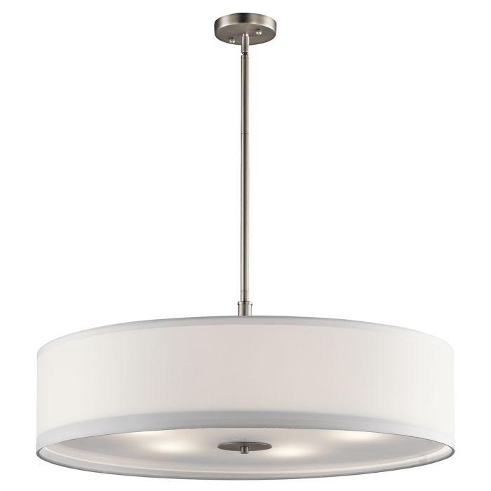 Kichler Signature 5 Light Pendant In Brushed Nickel Drum Pendants Lights Ceiling