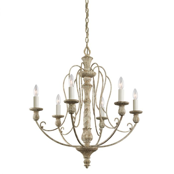 Kichler Hayman Bay 6-Light Chandelier in Distressed Antique White -  Traditional Chandeliers - Chandeliers - Kichler Hayman Bay 6-Light Chandelier In Distressed Antique White