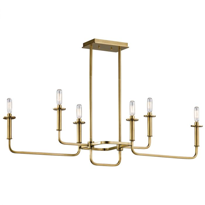 Kichler Alden 6 Light Double Linear Chandelier In Natural Brass Chandeliers