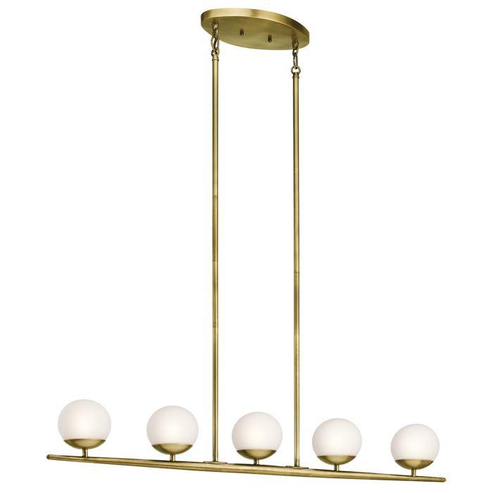Kichler Jasper 5 Light Linear Chandelier In Natural Brass Chandeliers