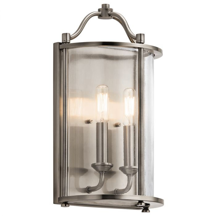 Kichler Emory 2 Light Wall Sconce In Classic Pewter Wall Sconces