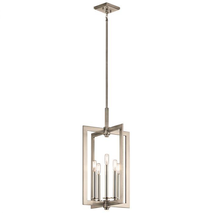 kichler cullen 5 light large foyer pendants in classic pewter