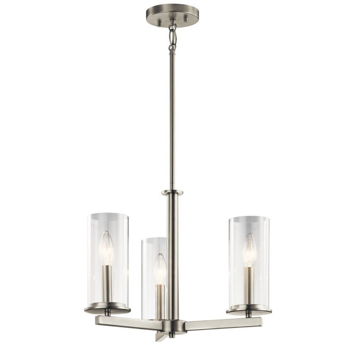 Kichler Crosby 18 3 Light Clear Semi Flush Chandelier In Brushed Nickel Lights Ceiling