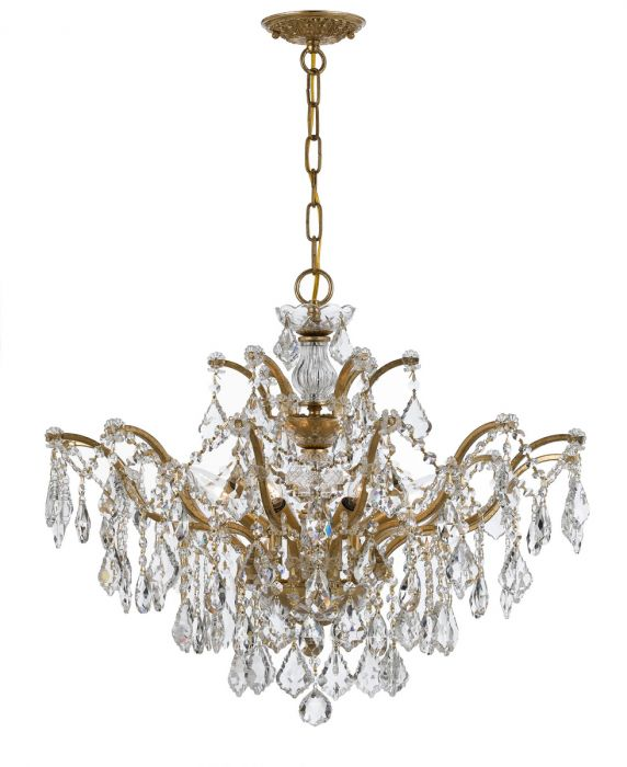 Crystorama Ore 6 Light Chandelier In Antique Gold Crystal Chandeliers