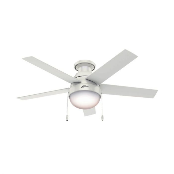 Hunter Anslee 46 2 Light Indoor Low Profile Ceiling Fan In White Fans