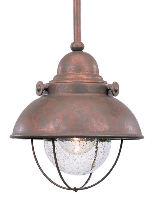 Sea Gull Lighting Sebring 1 Light Outdoor Mini Pendant In Weathered Copper Pendants Lights Ceiling