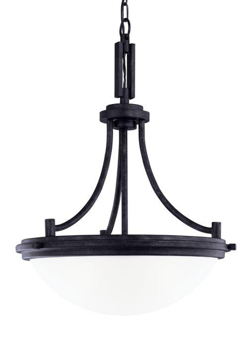 Sea Gull Lighting Winnetka 3 Light Pendant In Blacksmith Lights Ceiling