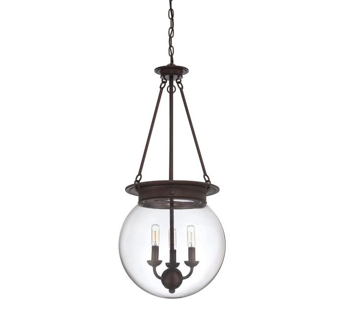 Savoy House Gl Orb 3 Light Pendant In Oiled Burnished Bronze Lights Ceiling