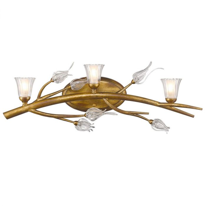 Golden Lighting Aiyana 3 Light Bath Vanity In Gold Leaf With Clear Gl Lights Wall