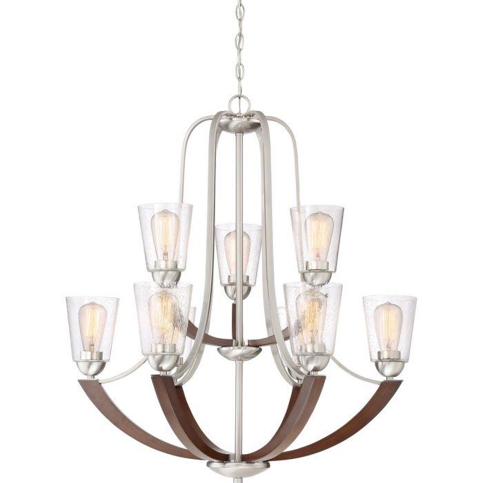 quoizel holbeck 31 9 light chandelier in brushed nickel multi