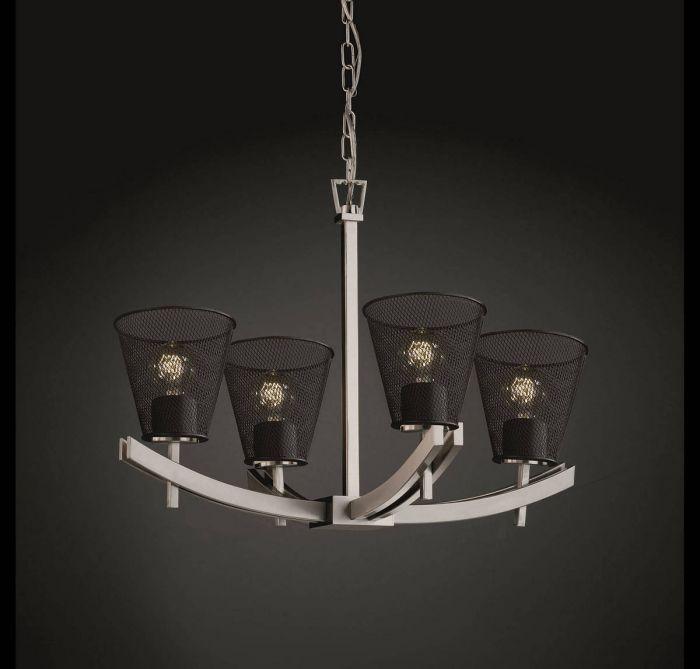 Justice Design Archway 4-Light Chandelier in Brushed Nickel - Globe ...
