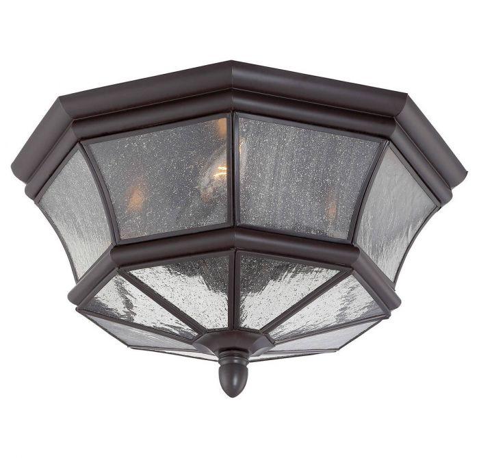 quoizel newbury 8 3 light outdoor flush mount in medici bronze