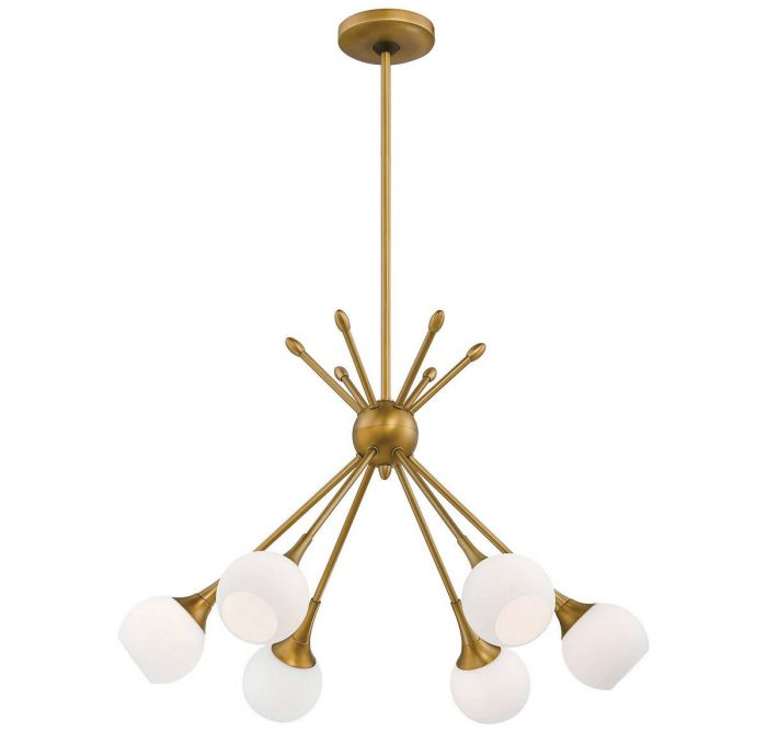George Kovacs Pontil 6 Light Chandelier In Honey Gold Contemporary Chandeliers