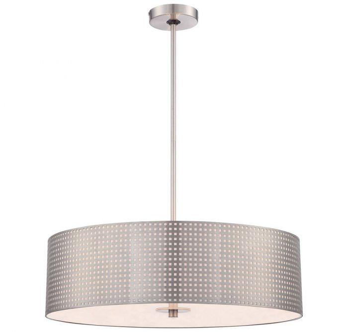 George Kovacs Grid 4 Light Drum Pendant In Brushed Nickel Pendants Lights Ceiling