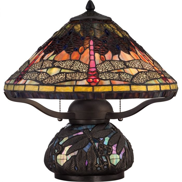 Quoizel Tiffany Dragonfly 2 Light Table Lamp In Imperial Bronze Lamps