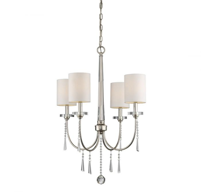 trade winds lighting crystal 4 light chandelier in polished nickel