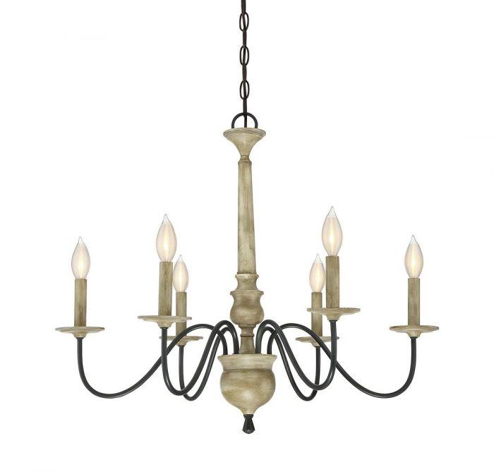 Trade Winds 6-light chandelier in distressed wood - Top 20 Chandeliers - Lights Online Blog