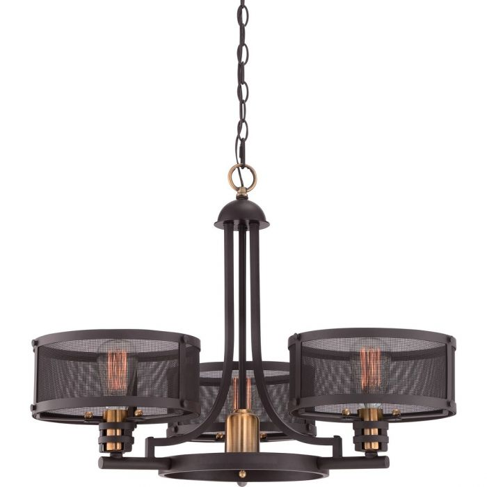 Quoizel Union Station 3 Light Chandelier In Western Bronze Traditional Chandeliers
